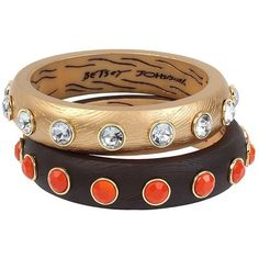 Betsey Johnson Throwback To Vintage Bj Wood Bangle Set ($50) ❤ liked on Polyvore featuring jewelry, bracelets, wood, hinged bracelet, wooden bangles, vintage bangle bracelet, vintage jewelry and vintage bangle