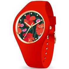 99€. Boitier rond silicone rouge 40mm taille M, cadran noir motif fleur, bracelet silicone rouge, étanche 100m Ice Watch, Bracelet Silicone, Smart Watch, Passion, Quartz, Watches, Bracelets, Accessories, Instructions