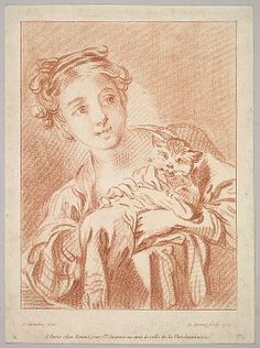 Louis-Marin Bonnet (French, 1736–1793). Girl and cat, 1769. The Metropolitan Museum of Art, New York. The Elisha Whittelsey Collection, The Elisha Whittelsey Fund, 1955 (55.539.25) #cats