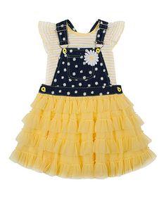 Look at this #zulilyfind! Yellow Denim Tutu Skirtall & Tee - Infant, Toddler & Girls #zulilyfinds