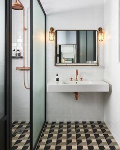 Bathroom Inspiration - Refreshed Vintage & Industrial Mix Bathroom The Hoxton Paris Hotel by Humbert et Poyet – Shop the inspiration styleThe Hoxton Paris Hotel Bathroom Design, Bathroom Renovation, Shower Room, Paris Bathroom, Vintage Industrial Decor, Bathroom Inspiration, Bathrooms Remodel, Bathroom Renovations, Bathroom Design