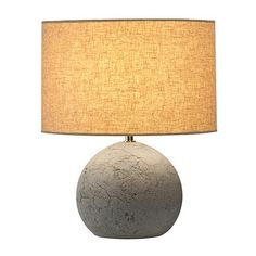 A concrete base table lamp with shade. Shows natural surface detail at it's best! Traditional Table Lamps, Lamp Shade, Lighting Inspiration, Lamp, Slv Lighting, Home Lighting, Direct Lighting, Floor Lamp Table, Round Table Lamp