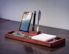 In legno caricatore Desk Organizer portafoglio di weselldream