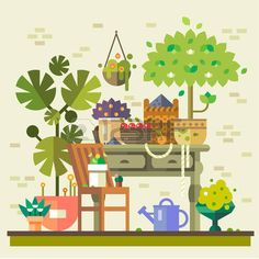 Harvest in countryside. Table with flowers vegetables and fruits warehouse watering and care. Summer village. Vector flat illustration