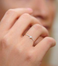 Gold ring  14 k white gold ring with diamond   wedding ring