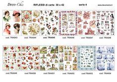 Carte per il trasferimento d'immagine a colori. Disponibili su www.deco-chic.it alla voce carte da decoupage, Riflessi di carta, serie 4