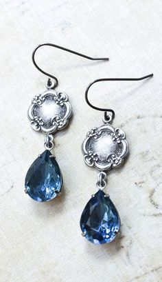 Blue Glass Earrings Silver Floral Montana