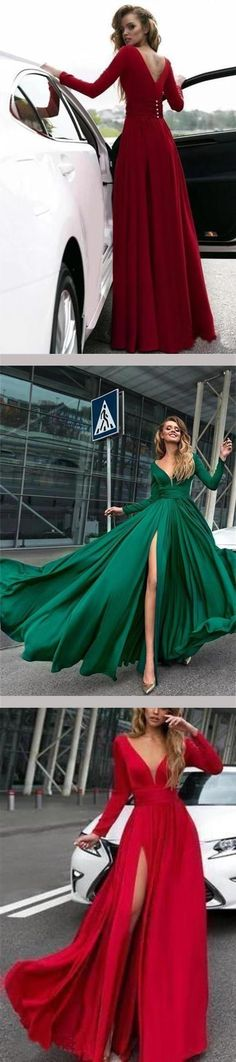 Flowy Long Sleeve V Neck Chiffon Long Formal Dresses with High Slit Backless Prom Dress, This dress could be custom made, there are no extra cost to do custom size and color Split Prom Dresses, Backless Prom Dresses, Formal Dresses, Ombre Color, Homecoming, Ball Gowns, Evening Dresses, Party Dress, Chiffon