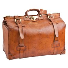 Large Leather Hunting Kit Bag by Harrods of London c.1970   From a unique collection of antique and modern trunks and luggage at http://www.1stdibs.com/furniture/more-furniture-collectibles/trunks-luggage/