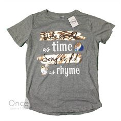PRIMARK ADULT Ladies DISNEY BEAUTY AND THE BEAST Tale as old as time T Shirt #Primark #Graphic