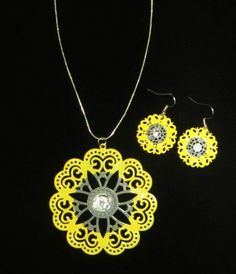 The Tiffanee Collection - Yellow Gray Necklace Set