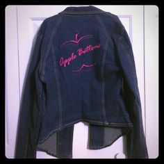 Apple Bottoms Denim Jacket Apple Bottoms by Nelly Denim Jacket. Size L. Pink Apple Bottoms logo on back. One front button closure. New with tags! Apple Bottom Jeans, Pink Apple, Front Button, Jean Jackets, Closure, Spandex, Coats, Logo, Denim