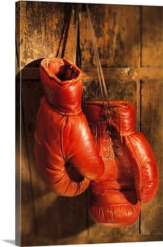 Boxing gloves hanging on rustic wooden wall