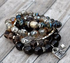 Dramatic Faceted Picasso Czech Beaded Bracelet / Set by BeadRustic