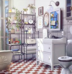 "blackcatphoenix: "" ""IKEA Inspiration"" bathroom mini-set v.1 This set includes: ♥ Forged shelf - 2 swatches, black and white - 131 slots (Pray for the sims4studio!) don't forget about bb.moveobjects - polygons: 7472 (ಥ﹏ಥ) at least it is not a 10 000 -..."