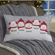 Buy Snowman Family Personalized Throw Pillows and customize with any names. Choose pillow size and snowman design to create fun winter decor. Grey Throw Pillows, Diy Pillows, Sewing Pillows, Custom Pillows, Winter Home Decor, Easy Home Decor, Holiday Decor, Christmas Decorations, Christmas Sewing