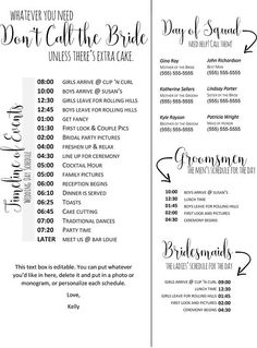 Wedding Checklist Editable Wedding Timeline - Edit in Word - Phone numbers and timeline - Day of Wedding Schedule. Wedding Day Timeline Without First Look Budget Wedding, Plan Your Wedding, Wedding Tips, Wedding Events, Luxury Wedding, Wedding To Do List, Wedding Cake, Wedding Locations, Wedding Coordinator