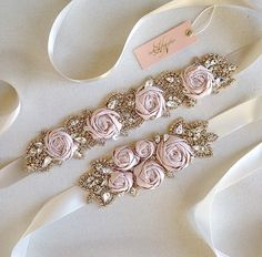 Silk Rose and Crystal Bridal Sash Blush by HelenaNoelleCouture Bead Embroidery Patterns, Embroidery On Clothes, Embroidery Fashion, Embroidery Jewelry, Ribbon Embroidery, Diy Hair Accessories, Bridal Accessories, Wedding Jewelry, Diy Lace Ribbon Flowers