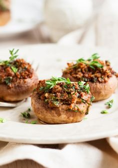 Sausage-Stuffed Mushrooms with Plum Pineapple Sauce. Great New Year's Eve appetizer!