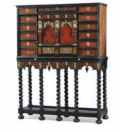 Cabinet en placage de palissandre, ébène, bois noirci, écaille rouge et ivoire, travail anversois de la seconde moitié du XVIIème siècle | lot | Sotheby's