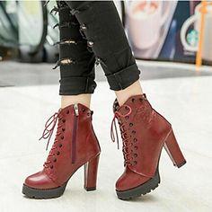 Short Thicken Heel Martin Boots - USD $ 22.99
