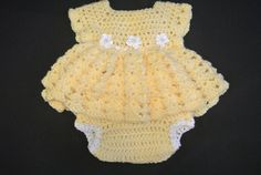 Crocheted baby girl dress and diaper cover on Etsy, $45.00