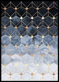 Blue Hexagons And Diamonds Poster in the group Prints / Sizes / 50x70cm | 20x28 at Desenio AB (pre0018)