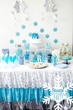 Frozen birthday party ideas! Treats and decorations for a Frozen themed birthday party.