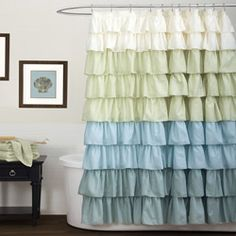 Triangle Home Fashions 11987 Lush Decor Ruffle Shower Curtain, Multi - Shower Curtains Outlet