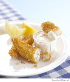 """Kid-Friendly Finger Food: Krispie Fish """"Fingers"""" with Lemon Mayo Dip - Parenting Fish Recipes, Baby Food Recipes, Seafood Recipes, Toddler Recipes, Toddler Food, Family Recipes, Fish Finger, Finger Foods, Rice"""