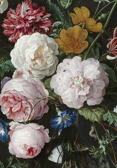 c0ssette:  Stilleven met bloemen in een glazen vaas, Jan Davidsz. de Heem,1650 - 1683 (detail)
