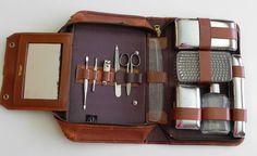 vintage 50s mens grooming kit by progressive gentlemens leatherwear - 12 pieces