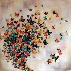 Art Group Butterflies on Pale Ochre by Lily Greenwood Art Print on Canvas