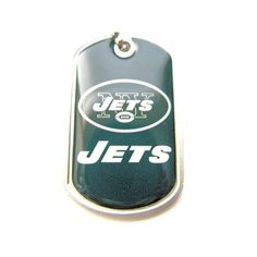 Aminco NFL New York Jets Dog Tag Domed Necklace Charm Chain