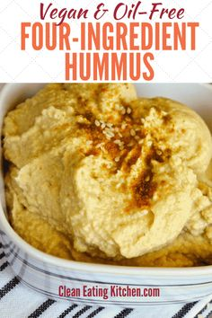 Easy oil-free hummus recipe that is so delicious! Healthy and made in just minutes using a high-speed blender. Easy oil-free hummus recipe that is so delicious! Healthy and made in just minutes using a high-speed blender. Healthy Vegan Snacks, Nutritious Snacks, Healthy Recipes, Fat Free Recipes, Vegan Appetizers, Paleo Vegan, Vegetarian Recipes, Vegan Sauces, Vegan Dishes