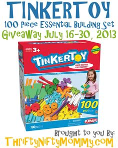 Enter to win a TINKERTOY 100 Piece Building Set from Thrifty Nifty Mommy. Giveaway ends July 30, 2013