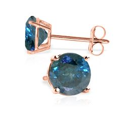 14K Rose Gold Stud Earrings with 1.0 Ct. Blue Diamonds
