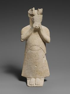 Limestone figure with mask of a stag's head Period:     Archaic Date:     6th century B.C. Culture:     Cypriot