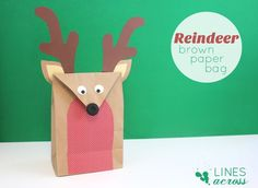 A brown paper bag into a cute reindeer gift bag