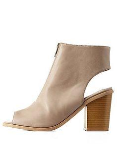 Chunky Heel Zip-Up Peep Toe Booties #boots #shoes #CharlotteRusse #CharlotteLook