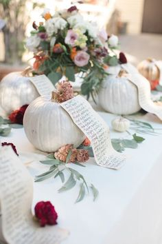 In lieu of a seating chart we used delicate paper with handwritten calligraphy adorned onto these cute little pumpkins to let guests know where to enjoy the party! Pumpkin Wedding, Autumn Wedding, Seating Plan Wedding, Wedding Linens, White Pumpkins, Seating Charts, Our Wedding Day, Real Weddings, Bridal Shower