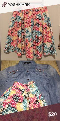 """Full Floral skirt Floral skirt - zips up the back - light wear, like new. 14"""" waist 20"""" length Just me Skirts Midi"""