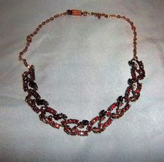 $10 Vintage Foliate Copper Toned Necklace with Red AB Crystal Rhinestones, 1950s