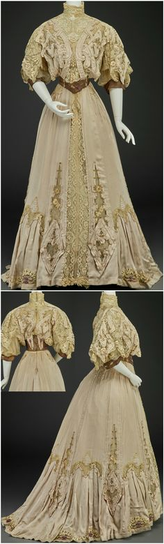 Afternoon dress (bodice, skirt), by G. Giuseffi Ladies' Tailoring Company, American, about 1903. Silk satin faille, silk lace, silk chiffon, silk taffeta, metallic threads. Images courtesy of the Indianapolis Museum of Art.