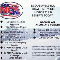 Like discounts? Like to travel? Like to take family vacations? Get protection while you're on the road. MCA will protect you!  911EmergCroadside.com