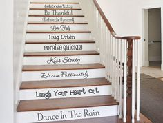 These stair riser decals are a unique addition to your home decor!  They are on 10 separate panels which read:  Celebrate Today Be Thankful Believe In Yourself Love Truly Hug Often Forgive Quickly Kiss Slowly Dream Passionately Laugh Your Heart Out Dance In The Rain   * * * SIZE * * * Height ranges from 3 to 4 inches. Width ranges from 13 to 30 inches.    * * * COLORS * * * Choose from the colors shown in the thumbnail photo above.   I have other stair decals in my shop section here…