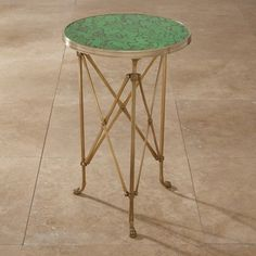 Directoire Table, Antique Brass With Faux Malachite Top contemporary side tables and accent tables