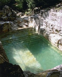 Located in Sheffield, Mass, this private pool was built into an already existing limestone quarry.  It's located in the backyard of Joel Goldstein, president of Mercedes distribution Co.