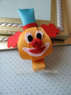 Character Ribbon Sculpture Clown Hair Clip - Birthday - Parties