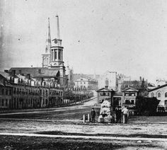 "Montreal 1859. The Hay Market> North.    McCord Museum Archives / W. Notman.  The site says the ""Hay Market"", the hay market, seems still in operation here in 1859. When this photo was taken, this place was becoming officially Victoria Square.  Many beautiful churches will be built in this area. One hundred years later, they have all disappeared.  See this site on an engraving from 1834 www.flickr.com/photos/urbexplo/4864453161"